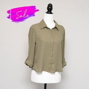 3/$20 Cropped Army Green Button Down Blouse